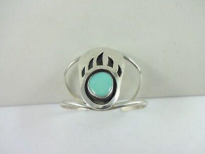 "Vintage Sterling Silver Paul Garcia KEWA Tribe Bear Paw Turquoise Bracelet 5.25"""