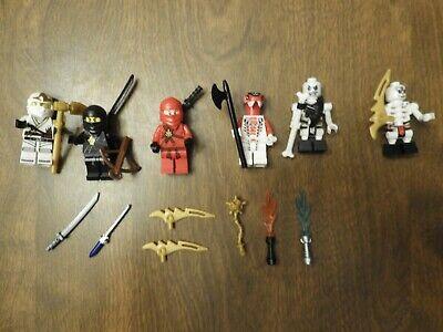 LEGO lot, 6 NINJAGO  MINI FIGURES WITH 14 WEAPONS