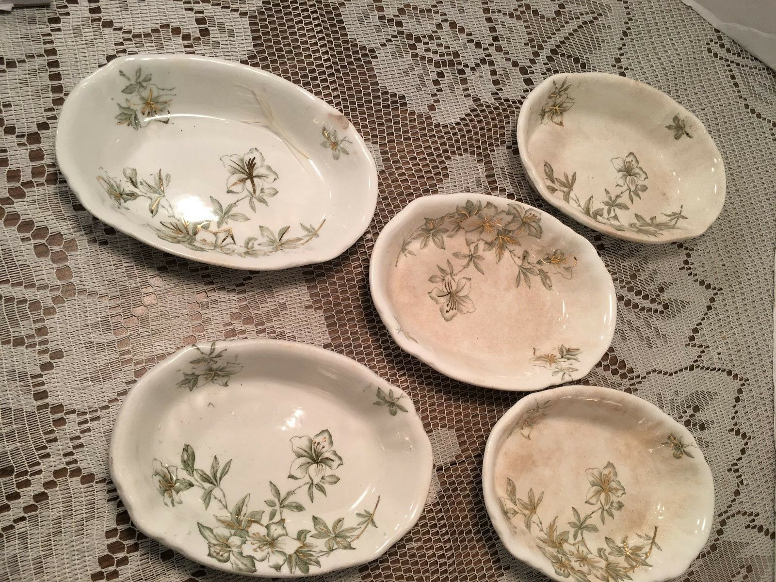 SET OF 5 BOWLS AZALEA PORCELAINE DE TERRE BY JOHN EDWARDS ENGLAND - $9.99
