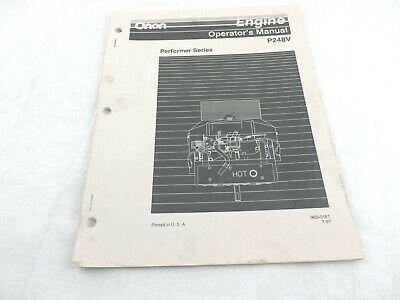Onan Engine Performer Series P248v Operators Manual 965-0181
