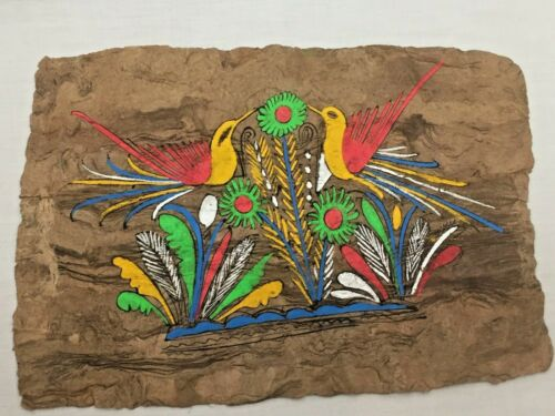 AMATE BARK PAINTINGS Ethnic Mexican Wall Folk Art Hand Painted 4 UNFRAMED