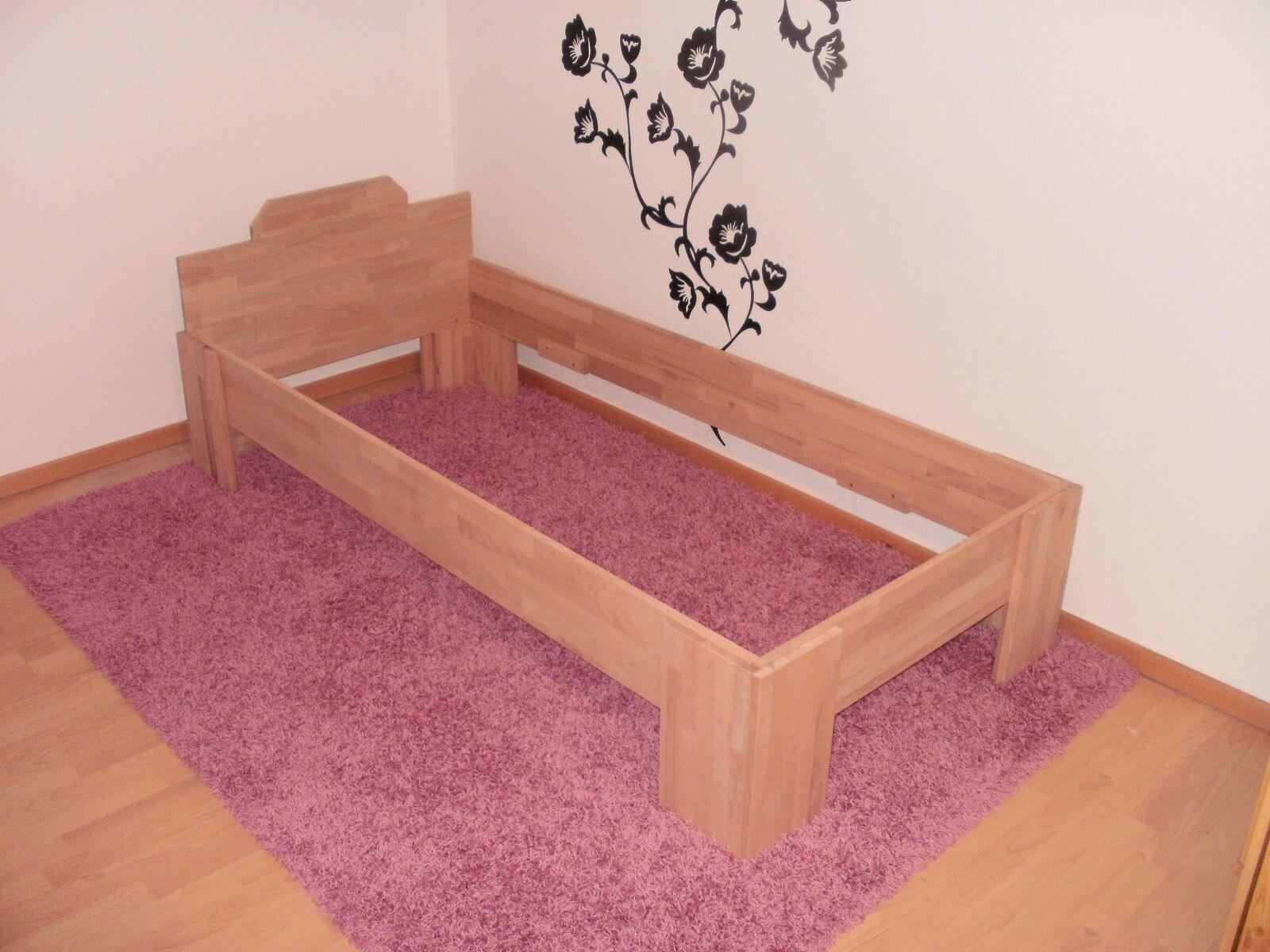 27mm holz bett vollholz echtholz massivholzbett 90x200. Black Bedroom Furniture Sets. Home Design Ideas