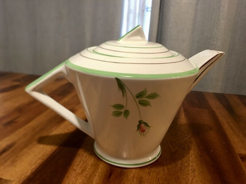 Vintage Mid-Century Palissy England Hand Painted Floral Angled Pitcher, Nice!