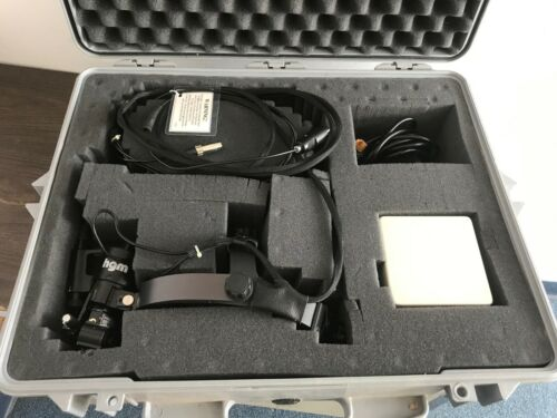 Indirect Ophthalmoscope w/ HGM laser head, fiber cable and power supply in case.