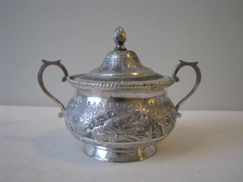 Antique Persian Solid Silver 84 Covered Sugar Bowl - 169 Grams