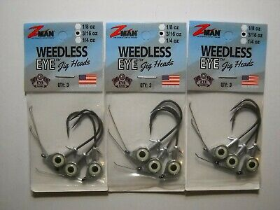 Z-Man WEJH14-05PK3 Weedless Eye 1//4oz Chartreuse Jighead Fishing Lure 3-Pk