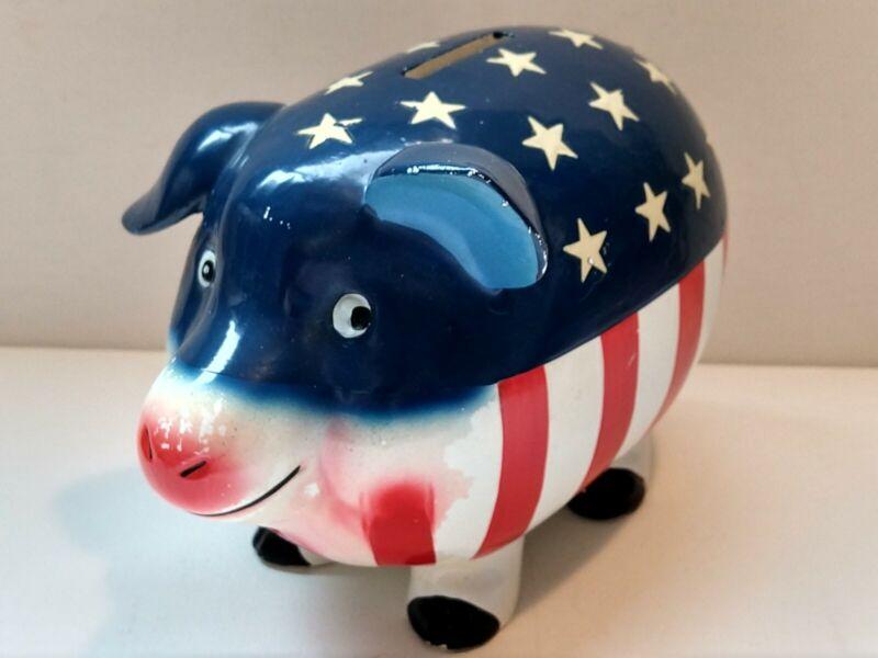 "VINTAGE USA FLAG DESIGN PIGGY BANK Made in JAPAN. L 6 1/2"" x W 4"" x H 4 3/4""."