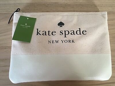 NWT Kate Spade Gia Cement (off white) Canvas Pouch Cosmetic Clutch bag