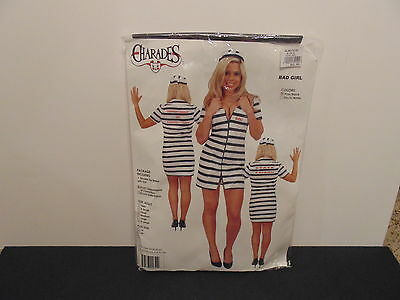 NEW BAD GIRL DOUBLE ZIP PRISONER COSTUME ADULT MEDIUM -CHARADES- PINK/BLACK - Girl Prisoner Costume