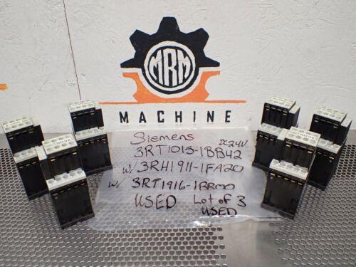 Siemens 3RT1015-1BB42 Contactors 24VDC & 3RH1911-1FA20 W/ 3RT1916-1BB00 Lot of 6