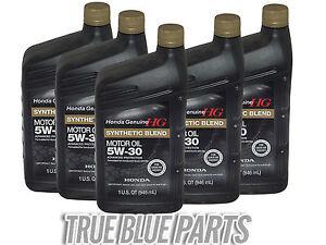 Honda Genuine Motor Oil 5w 30 Synthetic Blend 5 Quarts
