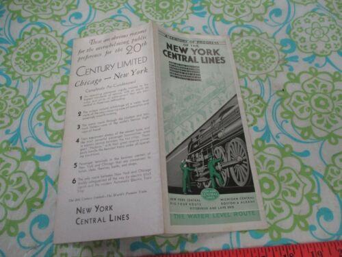 "New York Central Lines ""Century of Progress"" Map, Description brochure, 1934"