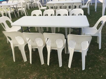 Plastic Pipee chairs and trestle table hire- CAN DELIVER LOCALLY