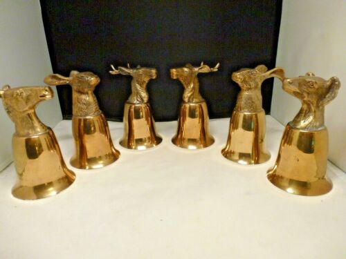 """VTG 70's GOLD Plated Pewter 5-1/2"""" Tall Stirrup Cups  SET OF 6"""
