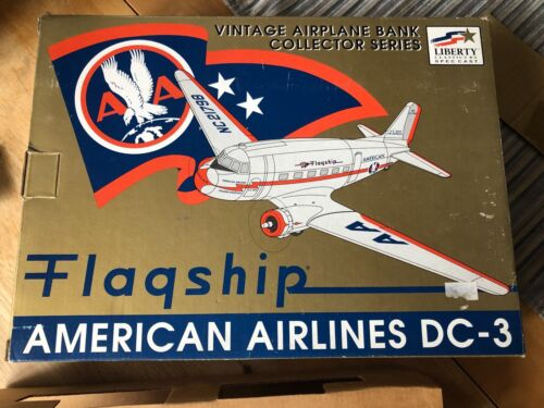 NIB Vintage American Airlines DC3 Coin Bank 1994 Liberty Classic