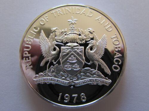1978 Trinidad and Tobago Islands $10 Silver Proof Coin Ten Dollars PR KM#24a