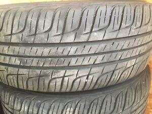 4 pneus d'été 205-60-15 sur rims 4x100
