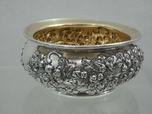 ANTIQUE SILVER PLATED REPOUSSE HAND CHASED SMALL BOWL / CANDY DISH Wilcox Co.