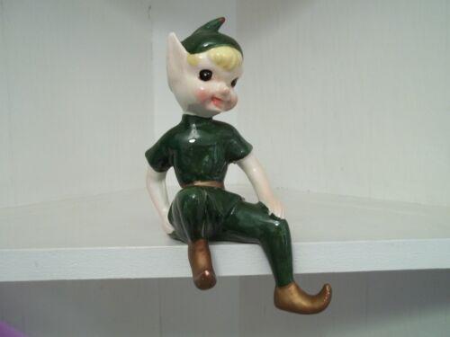"""Vtg Rare KREISS Large Ceramic GREEN PIXIE Shelf Sitter ELF Figurine 7"""" X 3"""""""