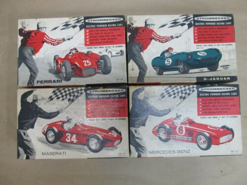 4 Vintage Strombecker Electric Car-D-Jaguar/Maserati/Ferrari/Mercedes Benz USED