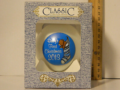 2013 Baby's First Christmas Tree Glass Ornament Blue Boys Classic 3 1/4 In w Box Babys First Christmas Tree Ornament