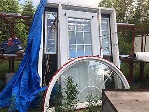 """36"""" door with side lights and bow window"""