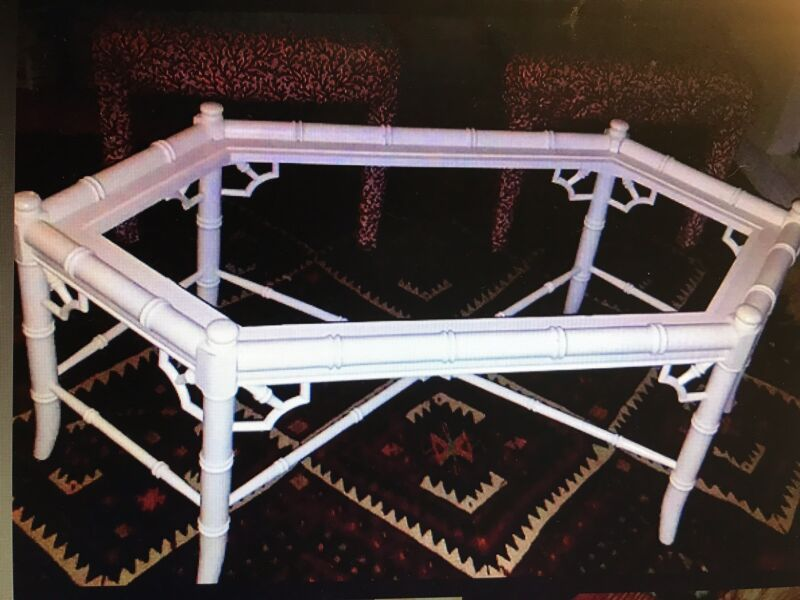 Chinese Chippendale Faux Bamboo Coffee Table Hexagonal Hollywood Regency Style