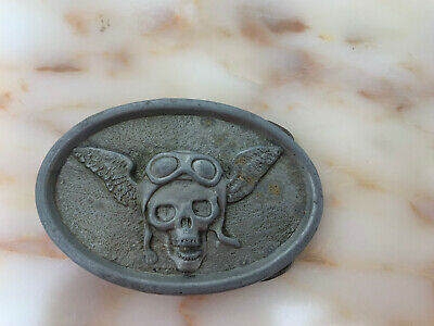 Vintage Skull Head with Wings Motorcycle goggles Biker Belt Buckle Harley Indian
