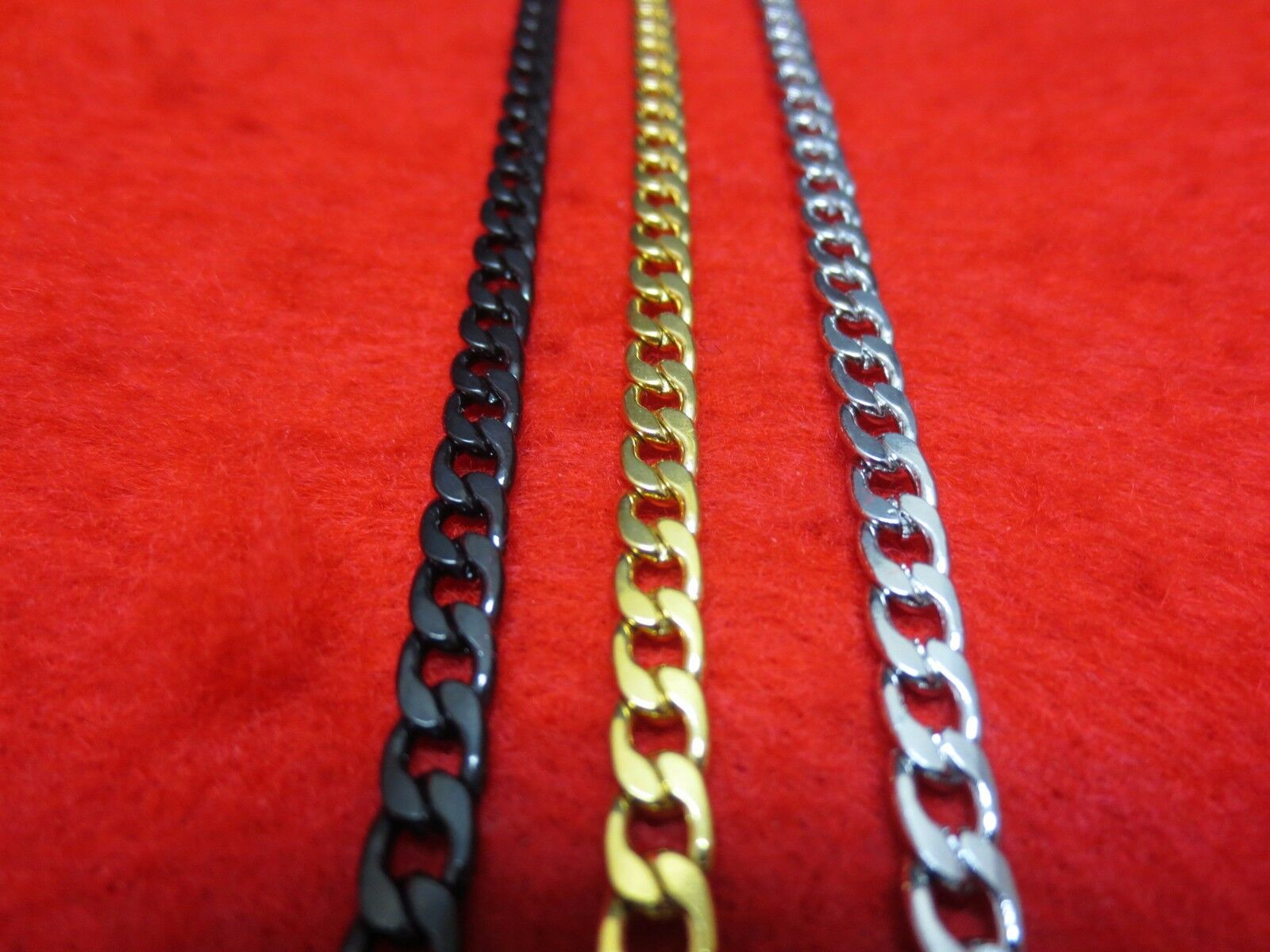 """Jewellery - 16""""-48"""" Men Stainless Steel Gold,Silver,Black , 5mm Curb  Cuban Chain Necklace"""