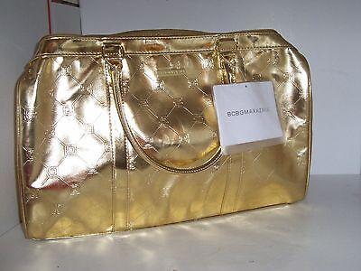 Brand New BCBG MaxAzria Gold Metallic Overnight Bag