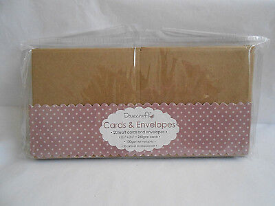 "20 Dovecraft Small Square 3.5"" x 3.5"" KRAFT Cards and Envelopes Card Making"