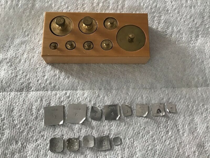 VINTAGE WEST GERMANY SET BRASS BALANCE SCALE WEIGHTS, jeweler, apothecary, craft