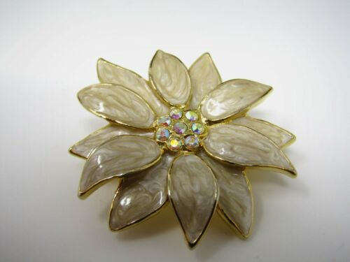 Vintage Metal Christmas Pin: White Poinsettia Flower Beautiful Jewel Center