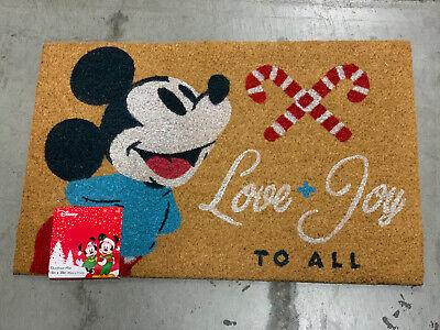 Mickey Mouse Door Mat Disney Christmas Holiday Rug Coir Fall Love+Joy To All