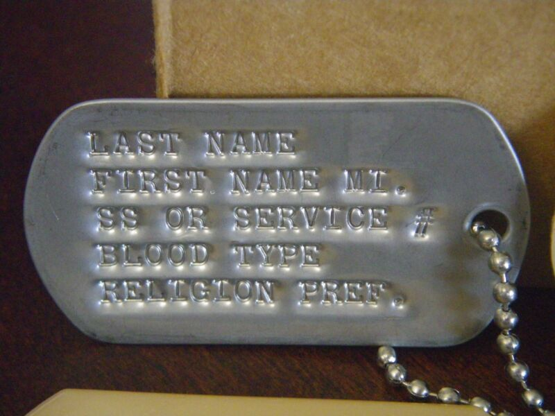 US Military Issue Stamped ID DOG TAGS TAG Official Genuine Dogtags STAINLESS