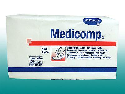 100 unsteril Hartmann Medicomp Vliesstoff Kompressen Wundauflage 10x20cm