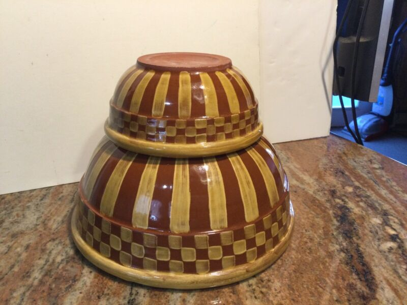 2 Lovely Brown And Mustard Color Terracatta Mackenzie Childs Mixing Bowls