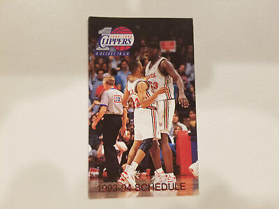 Los Angeles Clippers 1993 94 Nba Basketball Pocket Schedule   Fatburger