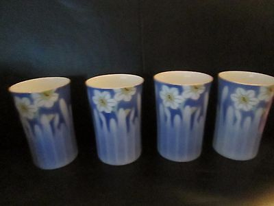 4 Vintage Japanese Fukagawa Porcelain Cups Blue Transparent Flower Daisy Arita