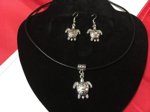 Turtle necklace and earrings FUN dangle nautical scuba diving equipment GIFT #56