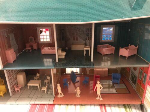 Vintage Marx's Metal Litho 2 Story Dollhouse w/ Opening Windows
