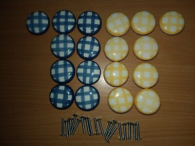 - 18-Gingham Cabinet Furniture Drawer Knobs Pulls (9-Yellow/9-Blue)+(18)1