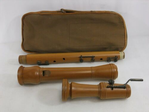 Kung Great Bass Recorder Swiss Made Wooden w/ Bag Missing Mouthpiece