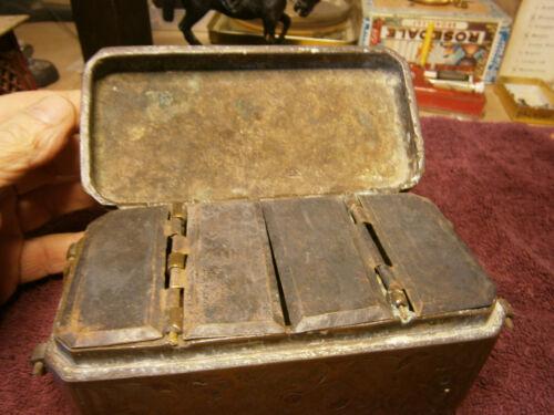 Antique Primitive Brass Cloisenne Medicine Herb Box - Very Old & Interesting