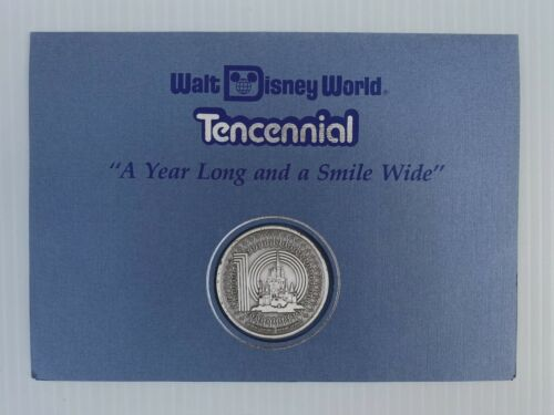 1981 Walt Disney World Tencennial 10 YEAR ANNIV Cast Member Castle Coin + letter