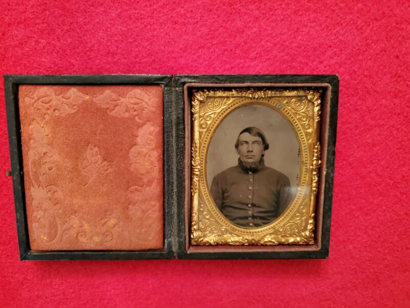 Civil War Soldier - 9th Plate Tintype with Fierce Eyes