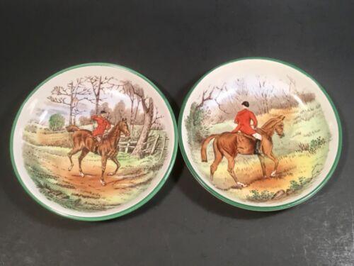 Antique Vintage Copeland Spode Equestrian English Horse Riding Butter Pats Set 2