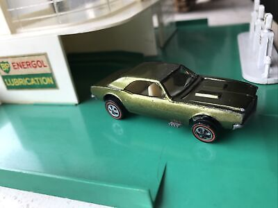 HOT WHEELS REDLINE CUSTOM CAMARO, OLIVE with WHITE INTERIOR USA VERY NICE!!!