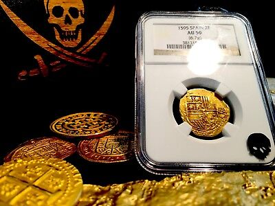 """SPAIN 2 ESCUDOS """"RARELY DATED 1595!"""" NGC 50 GOLD DOUBLOON COB COIN TREASURE](Gold Doubloons)"""