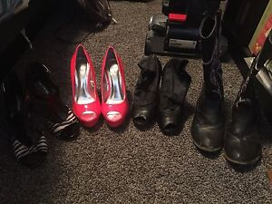 3 pairs of heels and 1 pair cowboy boots. Size 6